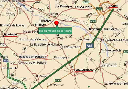 Map of Vendee to locate your holidays cottage, France near the Puy du Fou, # La Roche Bleue Saint Bois